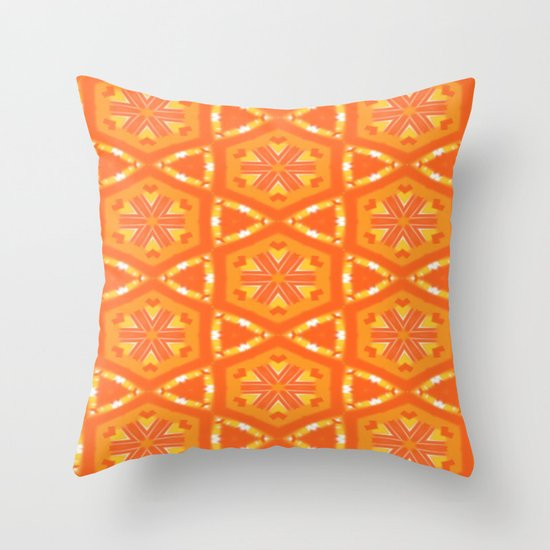 Orange and Yellow Stars and Hearts 9055 Throw Pillow