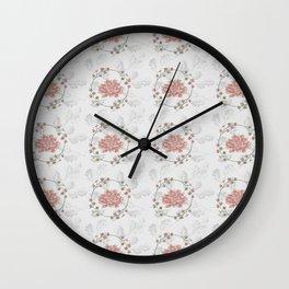 Peach Roses and Laurel Pastels Wall Clock