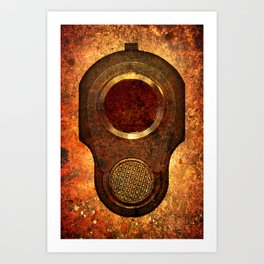 M1911 Colt Pistol Muzzle On Rusted Background Art Print