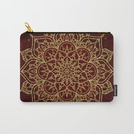 Deep Red & Gold Mandala Carry-All Pouch
