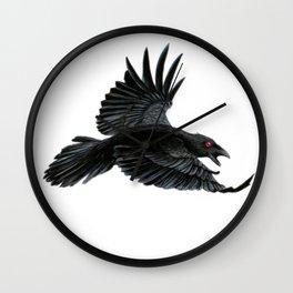 Black Crow Red Eyes Wall Clock