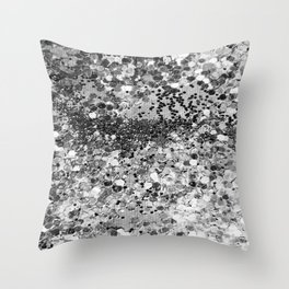 Sparkly Silver Glitter Confetti Throw Pillow