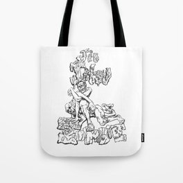 Jiu  Jitsu Zombie goes for an armbar, Black & White Edition Tote Bag