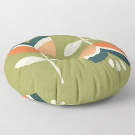 RETRO TULIP - ORANGE AND OLIVE GREEN Floor Pillow