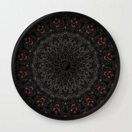 Red and Black Bohemian Mandala Design Wall Clock