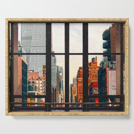 New York City Window #2-Surreal View Collage Serving Tray