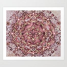 Burgundy plum mandala Art Print