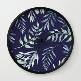 Floating Leaves Blue 2 #society6 #buyart Wall Clock