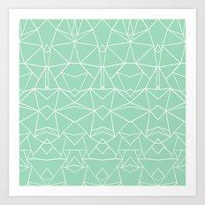 Abstract Mirror Mint Art Print