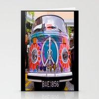 volkswagen Stationery Cards featuring Hippie Volkswagen by Sberla