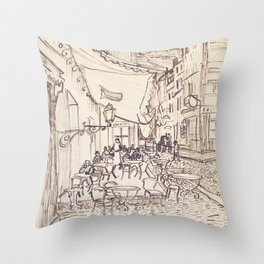 Cafe Terrace at Night (sketch) Throw Pillow