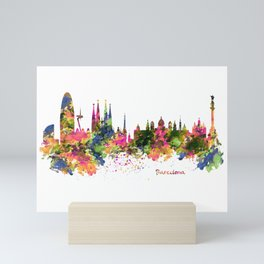 Barcelona Watercolor Skyline Mini Art Print