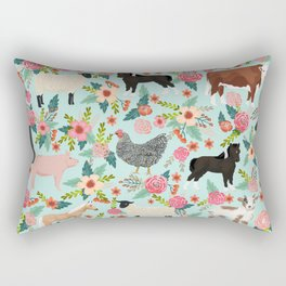 Farm animal sanctuary pig chicken cows horses sheep floral pattern gifts Rectangular Pillow