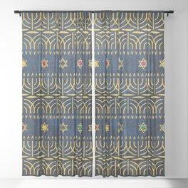 Menorah Pattern Sheer Curtain
