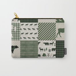 Camping hunter green plaid quilt cheater quilt baby nursery cute pattern bear moose cabin life Carry-All Pouch
