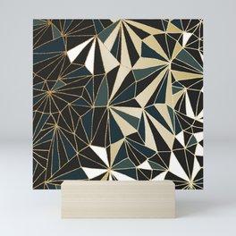 New Art Deco Geometric Pattern - Emerald green and Gold Mini Art Print
