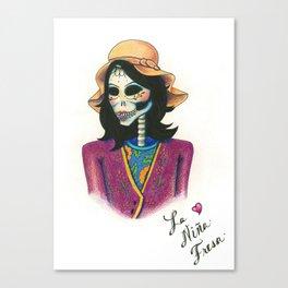 Dia de los Muertos - La Niña Fresa Canvas Print