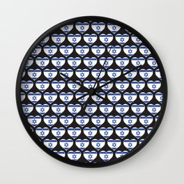 Israel Love flagMotif Repeat Pattern design background  Wall Clock