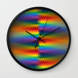 Rows of a Rainbow Fire Wall Clock