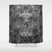 escher Shower Curtains featuring Skull - Escher Textur by itsme23