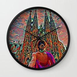 Spain Sagrada Familia Artistic Illustration Corrosive Style Wall Clock