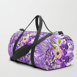 Lilac violet lavender lime green floral illustration Duffle Bag