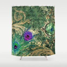 Vintage Green Peacock Shower Curtain