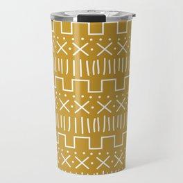 Mustard Mud Cloth Travel Mug