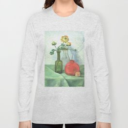 Still life with Buttercup and glass bottles Long Sleeve T-shirt
