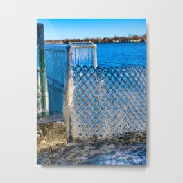 Frozen Fence at Van Buren Point  Metal Print