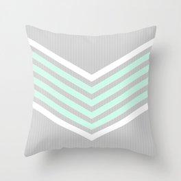 Mint & White Arrows Over Grey Stripes Throw Pillow