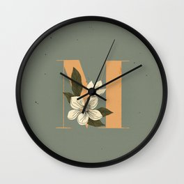 M for Magnolia Wall Clock