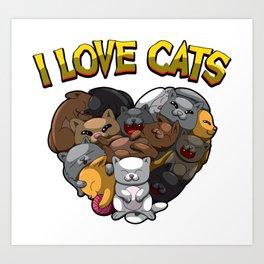 I Love Cats - Heart Full Of Kitten Art Print