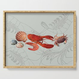Seafood - Shell - Shrimp - Scallop grey Serving Tray