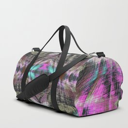 geometric symmetry pattern abstract background in pink blue brown Duffle Bag
