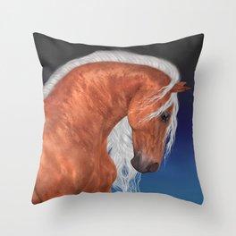 Golden Stallion .. fantasy horse Throw Pillow