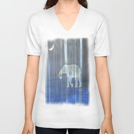 Moonlight with elephant Unisex V-Neck