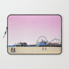 Santa Monica Pier with Ferries Wheel and Roller Coaster Against a Pink Sky Laptop Sleeve