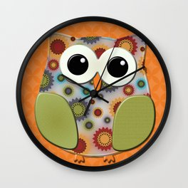 Colorful Floral Owl on Orange Wall Clock