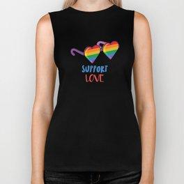 Support Love Gay Pride LGBTQ Rainbow Sunglasses Biker Tank
