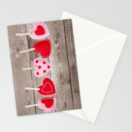 II - Clothesline with Valentine's Day hearts decorations on a rustic background Stationery Cards