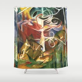 "Franz Marc ""Deer in the Forest I"" Shower Curtain"