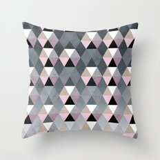 Geometric Prisme Pattern - Pink & Grey Throw Pillow