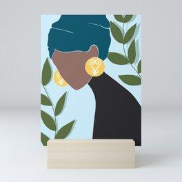 Sankofa Symbol, Leaves, Hair Wrap, Black Woman, Abstract, UNFRAMED, Minimalist Print, Minimalist Poster Art, Banana Leaves Mini Art Print