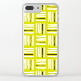 Stripes×Checkered Pattern__Lime Green&Purple Clear iPhone Case