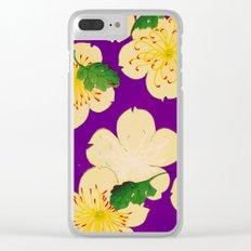 Purple Japanese Floral Vintage Pattern Clear iPhone Case