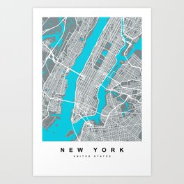 New York Map | Gray & Blue Colors Art Print