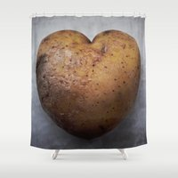 potato Shower Curtains featuring Love Potato by Svea Landschoof