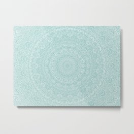 The Most Detailed Intricate Mandala (Blue Green Gray) Maze Zentangle Hand Drawn Popular Trending Metal Print