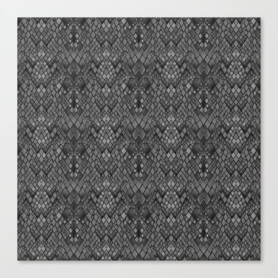 Abstract and faux crocodile skin .Texture Dark gray . Canvas Print